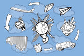 Bezienswaardigheden rond de wereld — Stockvector