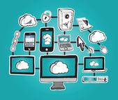 Vetor de computação em nuvem — Vetor de Stock