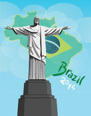 Christ the redeemer statue with brazil flag — Stock Vector