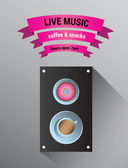 Live music advertisement with speaker — Stock Vector