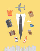 Jet setting businessman with icons — Stock Vector