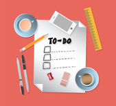 To do list with stationery — Stock Vector