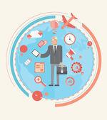 Hombre de negocios con varios iconos de negocios — Vector de stock