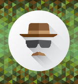 Hat mustache and sunglasses — Stock Vector