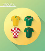 World cup group a with jerseys — Stock Vector