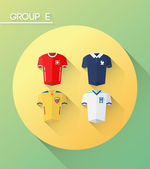 World cup group e with jerseys — Stock vektor