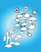 Cloud computing illustration — Stock Vector