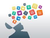 Homem pensar sobre ícones de aplicativos — Vetorial Stock