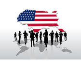 Business people under usa graphic — Stock Vector