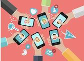 Hands holding smartphones — Stock Vector