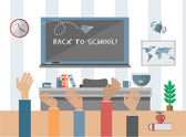 Back to school on chalkboard — Stock Vector