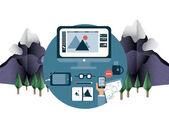 Designers desk in mountain setting — Stock Vector