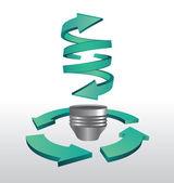 Energy light bulb arrow graphic — Stock Vector