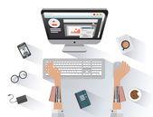 Robotic businessman working on computer — Stock Vector