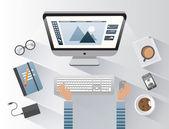 Designer working on computer — Stock Vector