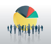 Business people against pie chart — Stockvektor