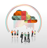 Business people under app cloud — Stok Vektör