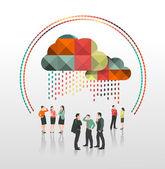 Business people under app cloud — Stockvektor