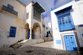 Street of Sidi Bou Said. UNESCO World Heritage — Stockfoto