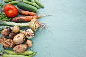 Assortment of fresh vegetables with  text area on right — Foto Stock
