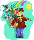 Cartoon artist boy Vector clip art illustration with  brush — Stock Vector