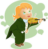 Boy playing a small violin cartoon — Vettoriale Stock