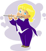 Illustration boy flutist cartoon character — Stock Vector