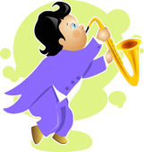 Boy play saxophone cartoon character — Stockvector