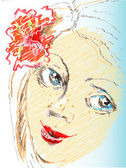 Vector portrait sketch  girl with flower — Stock Vector