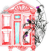 Illustration vector sketch the window and thistle — Stock Vector
