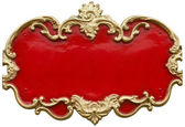 Cheap looking Baroque gold ornamental frame around a gaudy red fill — Stock Photo