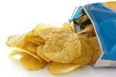 Blue packet of crisps with cheese and spring onion flavour — Stock Photo