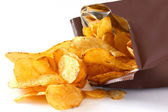 Open packet of crisps on white — Stock Photo