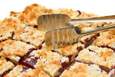 Tray of plumb crumble squares — Stock Photo
