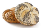 White poppy seed Kaiser bread roll — Stock Photo