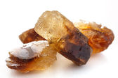 Detail of brown shiny sugar rock candy — Stock Photo
