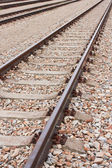 Newly laid train tracks on concrete ballasts — Stockfoto