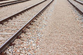 Newly laid train tracks on concrete ballasts — 图库照片
