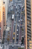 Manhattan traffic areal view — Stock Photo