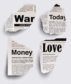 Torn newspaper with important headlines — Stock Vector