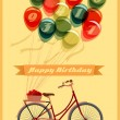 Retro Birthday card with Bicycle — Stock Vector