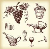 Hand drawn wine element — ストックベクタ
