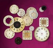 Gold clock set — Stock Vector