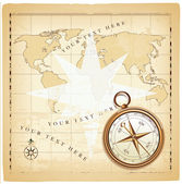 Background with olden map and compass — Stock Vector
