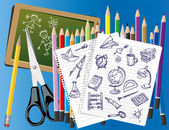 INK SCHOOL DOODLES — Stock Vector