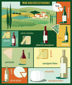 Set of wines and cheeses — Stock Vector