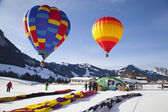 CHATEAU DOEX, SWITZERLAND, FEBRUARY 3: Hot-air balloons — Stock Photo