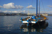 Boat on the Lake Geneva — Stock Photo
