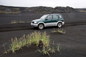 Car on the volcanic sand — Stock Photo