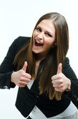 Girl giving thumbs up — Stock Photo